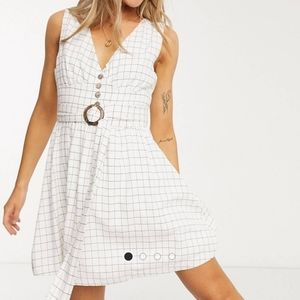 NWT!! Gilli tie-waist fit and flare checked dress
